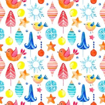 Patrón de acuarela de trama perfecta de elementos de símbolos de navidad y año nuevo y elementos de la