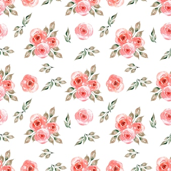 Patrón de acuarela transparente con delicadas flores en rojo, hojas de color verde gris.