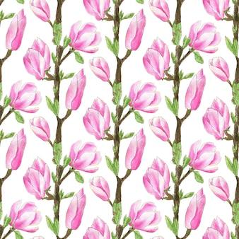 Patrón de árbol de magnolia acuarela