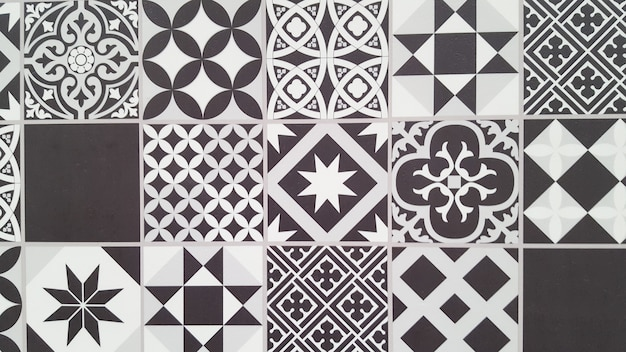 Patrón de azulejos portugueses lisboa azulejo blanco y negro sin costura