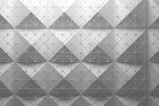 Patrón blanco hecho de pirámides de dos capas de azulejos y malla de alambre