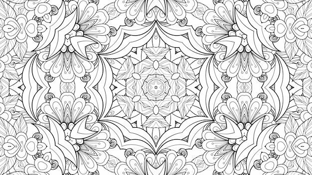 Patrón blanco y negro para colorear flores y hojas. hermosa planta geométrica de papel de fondo