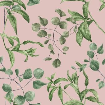 Patrón botánico enlosable transparente botánico verde