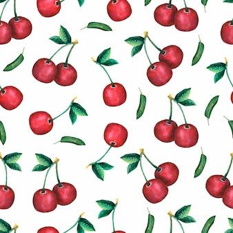 Patrón de cereza sin costura