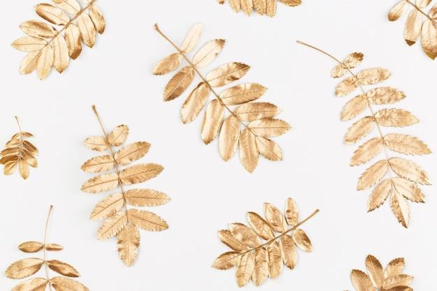 Patrón de composición de otoño hecho de otoño hojas doradas sobre fondo blanco.
