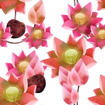 Patrón sin costuras de flor de loto