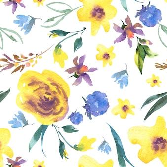 Patrón sin costuras floral acuarela vintage con flores silvestres