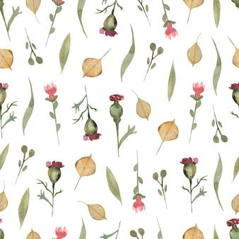 Patrón sin costuras floral de flores silvestres de acuarela, papel tapiz de flores delicadas con diferentes flores silvestres y hojas de otoño