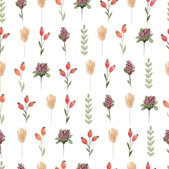 Patrón sin costuras floral de flores silvestres de acuarela, papel tapiz de flores delicadas con diferentes flores silvestres