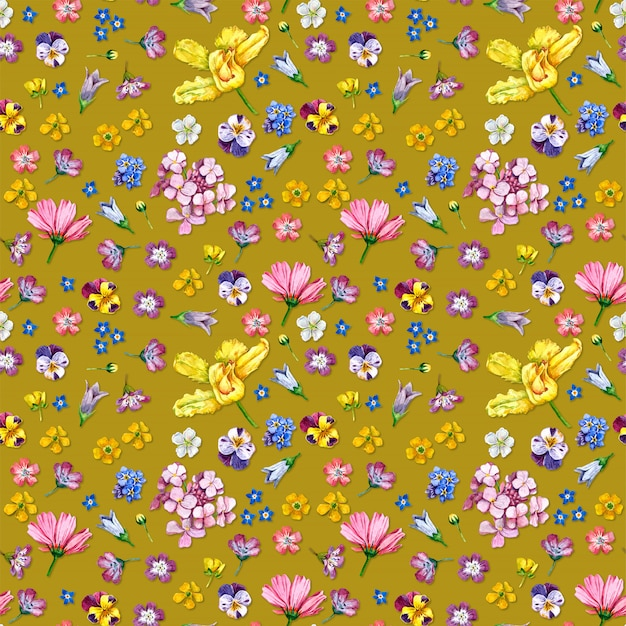 Patrón sin costuras flores silvestres sobre fondo amarillo