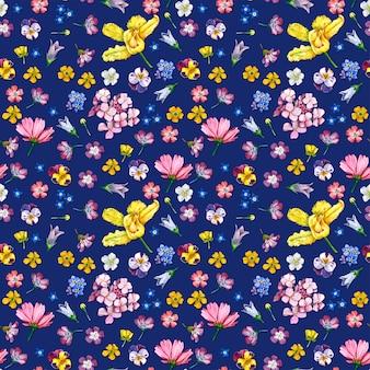 Patrón sin costuras flores silvestres sobre fondo oscuro