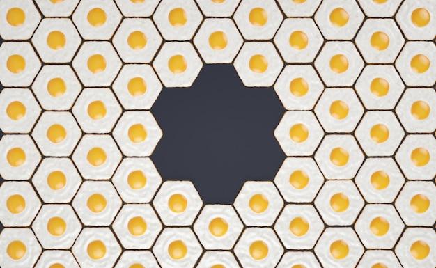 Patrón sin costuras hexagonal hecho de huevos fritos, con espacio para títulos # 2