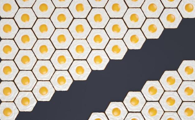Patrón sin costuras hexagonal hecho de huevos fritos, con espacio para títulos