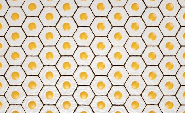 Patrón sin costuras hexagonal hecho con huevos fritos