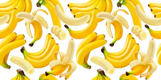 Patrón sin costuras de plátano, plátanos cayendo aislados en blanco con trazado de recorte