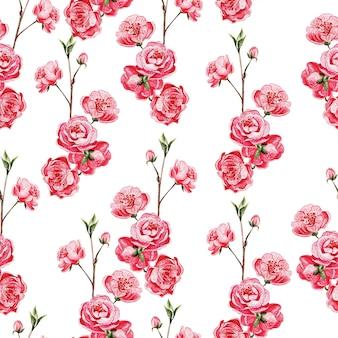 Patrón de costuras con sakura japonesa con flores rosas