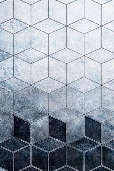 Patrón cúbico azul abstracto