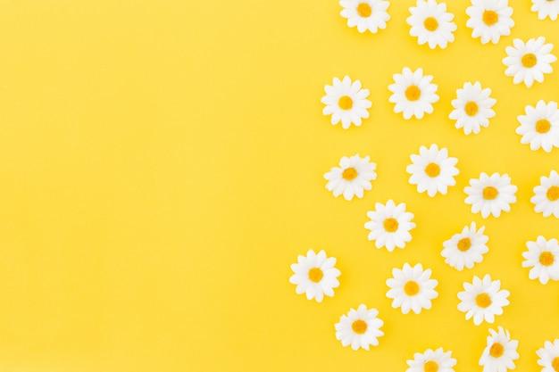 Patrón de daysies sobre fondo amarillo con espacio a la izquierda.