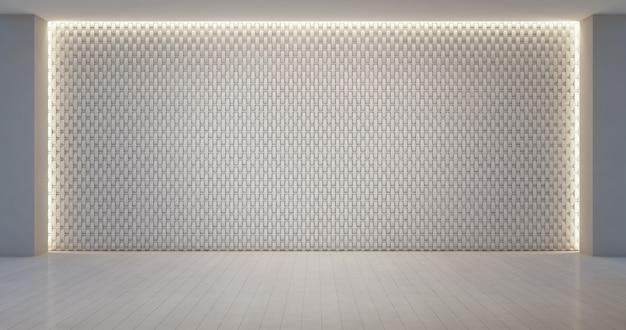 Patrón de decoración de la pared en la sala blanca vacía.