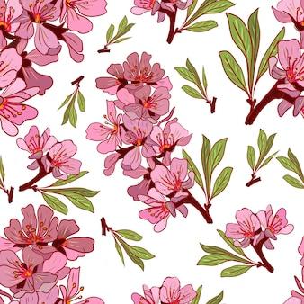 Patrón dibujado a mano de flores de almendro
