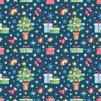 Patrón sin fisuras con acuarela elementos de navidad regalos en estilo vintage sobre un fondo azul.