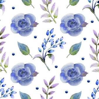 Patrón sin fisuras con acuarela flores rosas flor, hojas, bayas