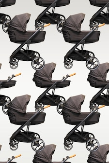 Patrón sin fisuras de un cochecito de bebé moderno sobre un fondo gris