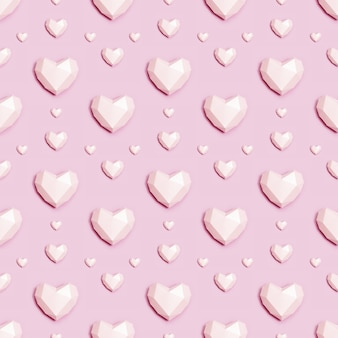 Patrón sin fisuras con corazón de papel poligonal rosa sobre fondo rosa.