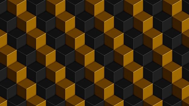 Patrón sin fisuras de cubos negros dorados isométricos