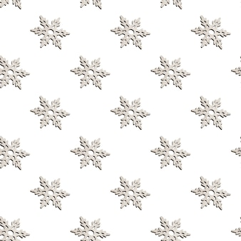 Patrón sin fisuras de decoración navideña de madera en forma de copos de nieve tallados en blanco