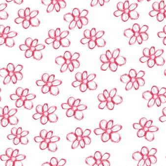 Patrón sin fisuras con flores acuarelas rojas sobre fondo blanco.