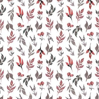 Patrón sin fisuras con hojas de color verde gris, ramas rojas