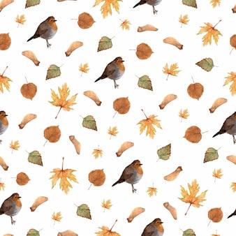 Patrón sin fisuras con hojas de otoño y pequeño pájaro robin