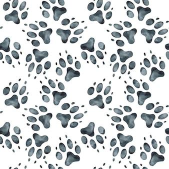Patrón sin fisuras de la huella del perro. ilustración acuarela