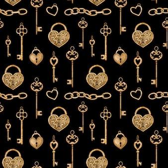 Patrón sin fisuras con llaves doradas vintage y cerraduras en forma de corazón. ilustración acuarela