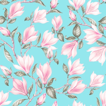 Patrón sin fisuras de magnoliavintage ramo de rosas en flor. ilustración botánica acuarela de flores de primavera. postal de felicitación, boda o invitación. diseño textil de flores.