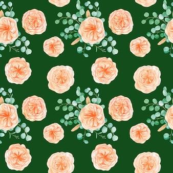 Patrón sin fisuras con melocotón english rose austin flower y eucalyptus