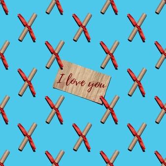 Patrón sin fisuras de notas de amor de papel artesanal atadas con una cinta roja sobre un fondo azul.