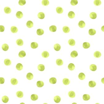 Patrón sin fisuras con puntos verdes sobre fondo blanco