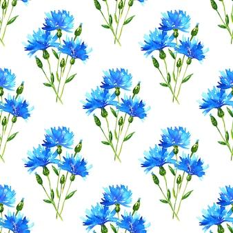 Patrón sin fisuras con ramo de acianos. hermosas flores azules. ilustración acuarela dibujada a mano. textura para impresión, tela, textil, papel tapiz.