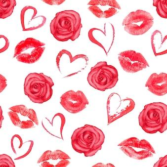 Patrón sin fisuras con rosas, corazones y besos de labios de rastro en superficie blanca