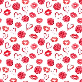 Patrón sin fisuras con rosas rojas, corazones y rastros de lápiz labial en la superficie blanca