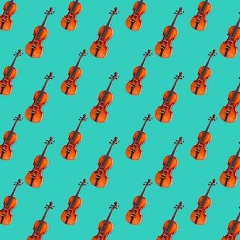 Patrón sin fisuras de violín sobre fondo verde pastel. impresión de violín