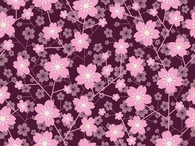 Patrón floral de flor de cerezo de vector transparente aislado sobre un fondo oscuro horizontal y verticalmente repetible