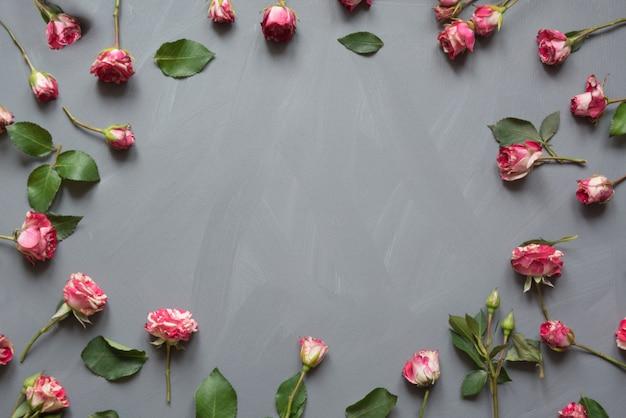 Patrón floral hecho de rosas de arbusto rosa, hojas verdes sobre gris