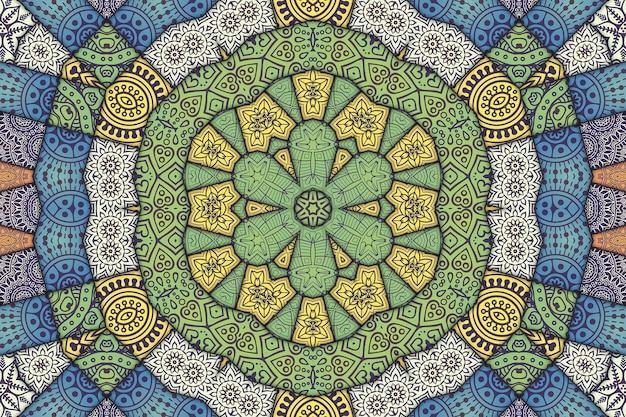 Patrón floral de patrón de mosaico mandala, imagen geométrica de azulejos pintados, patrón árabe de estilo marroquí.