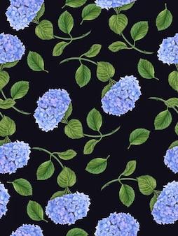 Patrón floral transparente con flor azul hortensia