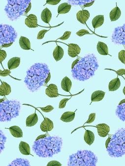 Patrón floral transparente con flor de hortensia