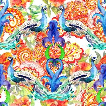 Patrón floral transparente - flores, pájaros de pavo real, decoración oriental con paisley.