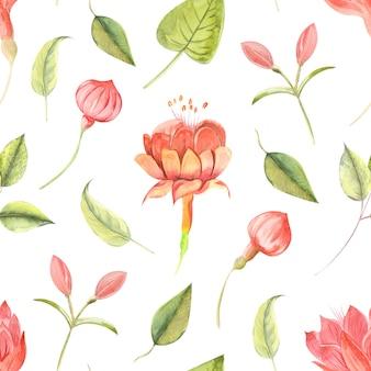 Patrón de flores abstractas en acuarela